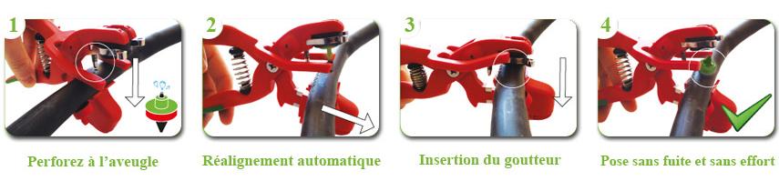 La pince à goutteur kliptx permet un pose simple et rapide du goutteur en 4 étapes